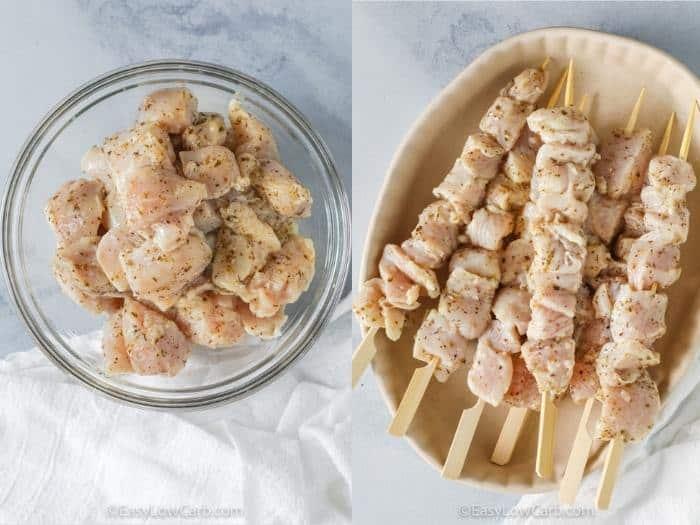 adding chicken to skewers to make Chicken Souvlaki Recipe