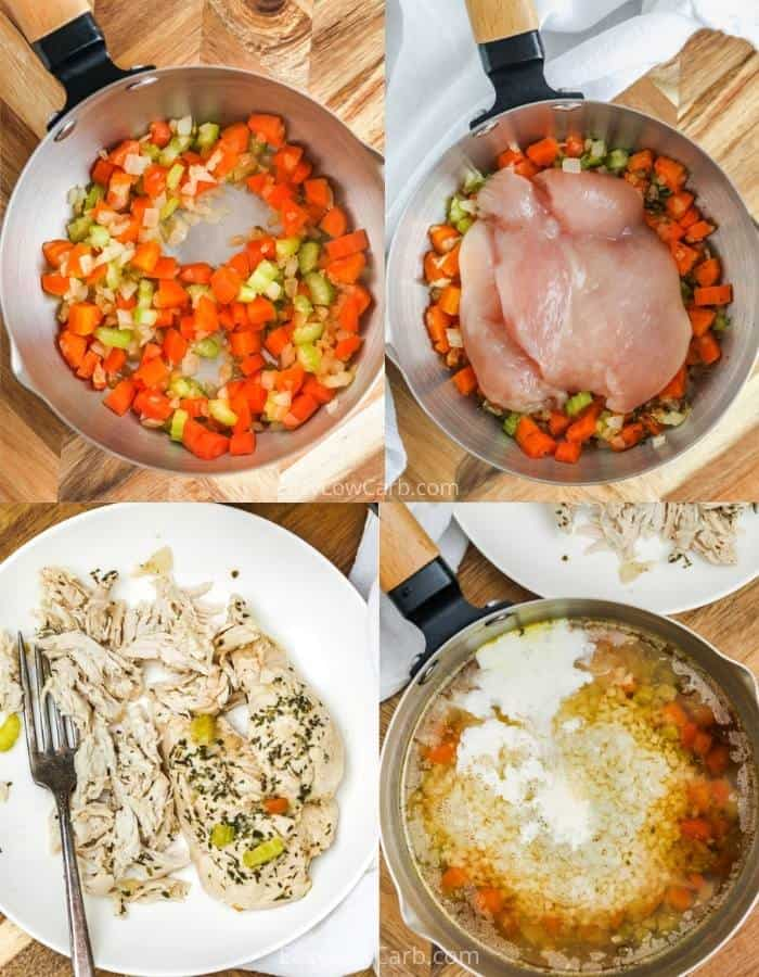 process of cooking ingredients to make Chicken Cauliflower Rice Soup