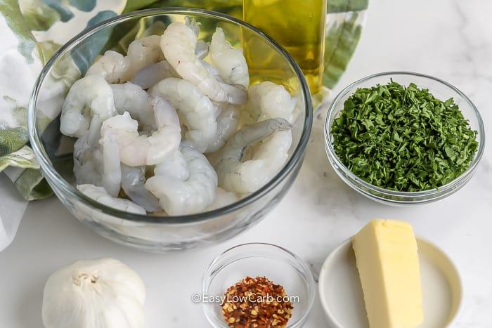 ingredients assembled for butter garlic shrimp
