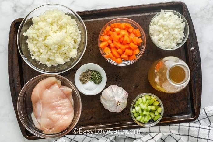 ingredients to make Chicken Cauliflower Rice Soup