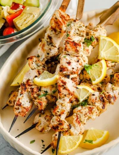 plated Chicken Souvlaki Recipe with lemon