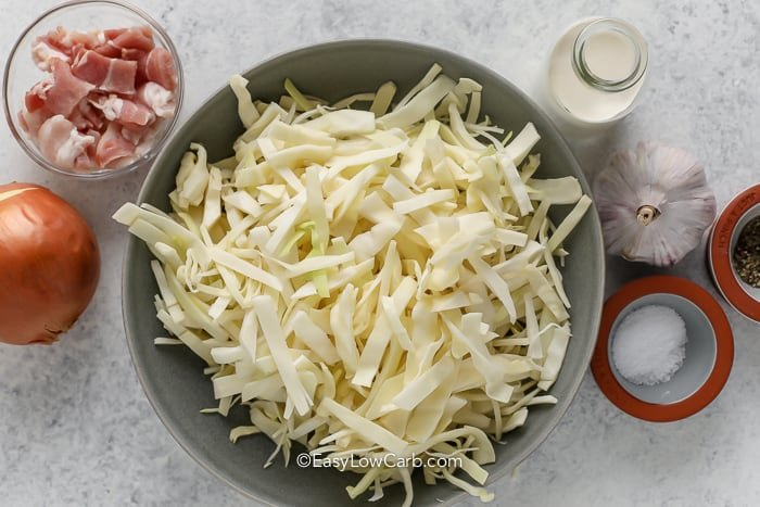 ingredients assembled for creamed cabbage