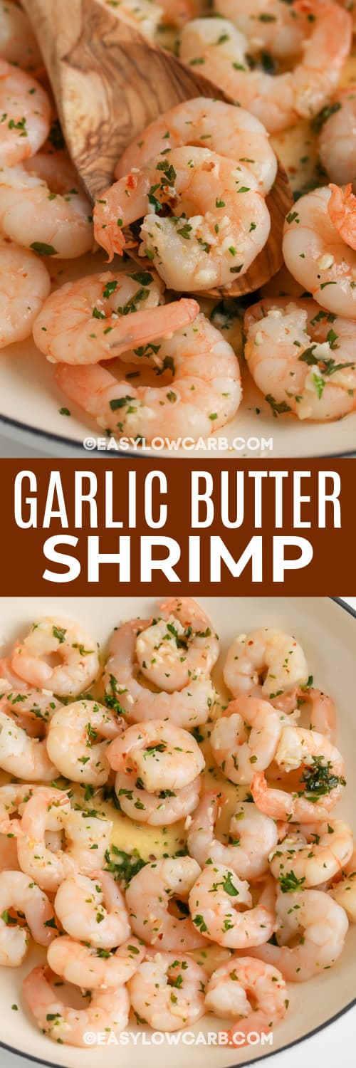 butter garlic shrimp with text