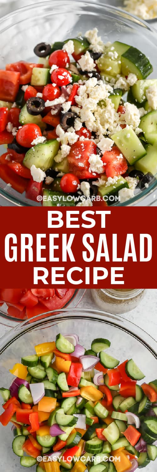 greek salad in a bowl and greek salad ingredients with text