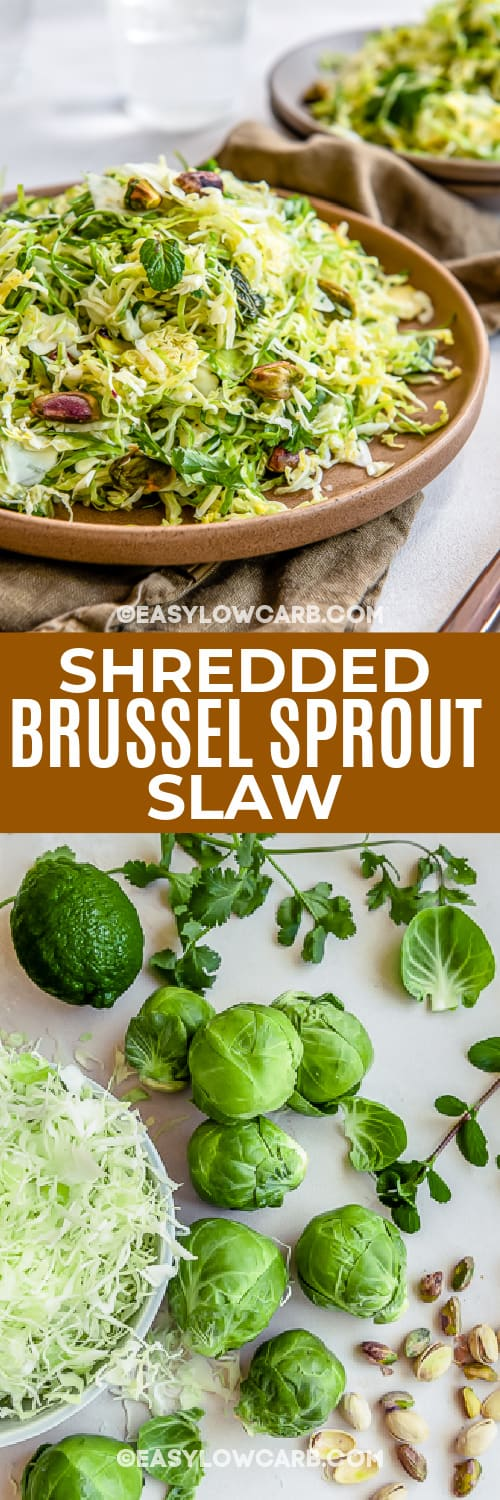 ingredients and finished shredded brussel sprout slaw with text