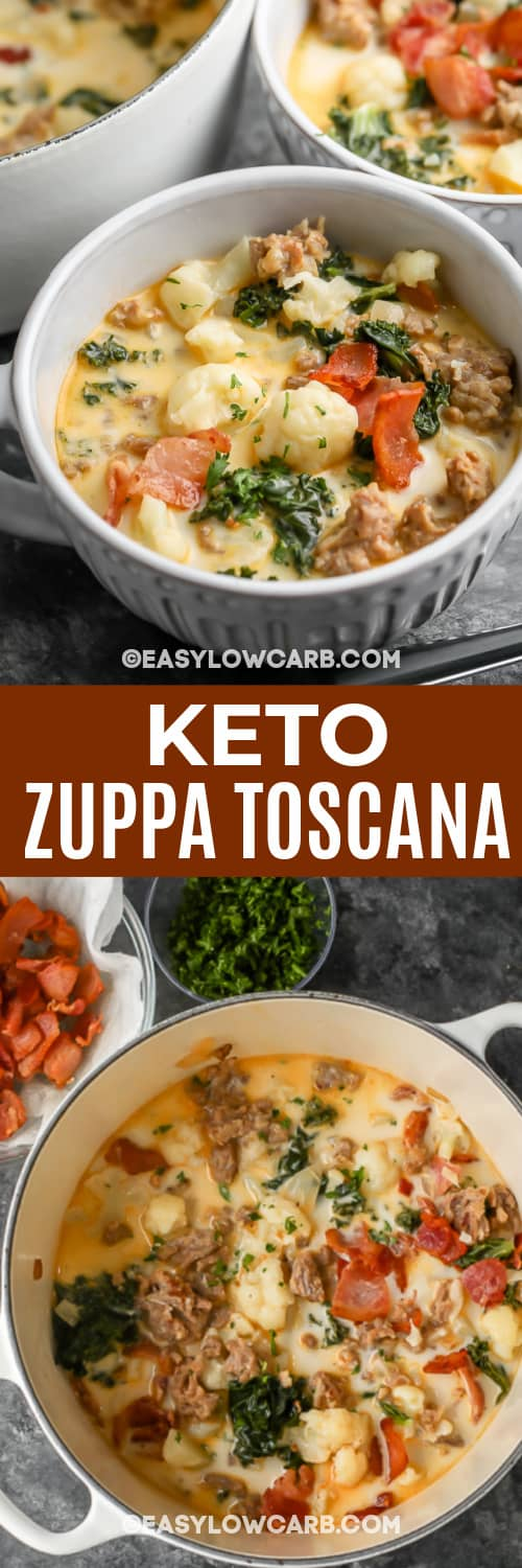 zuppa toscana in a white bowl and a white pot with text