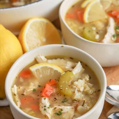chicken lemon soup in a white bowl