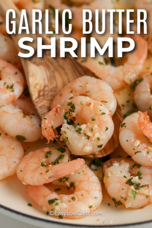 close up of butter garlic shrimp with text