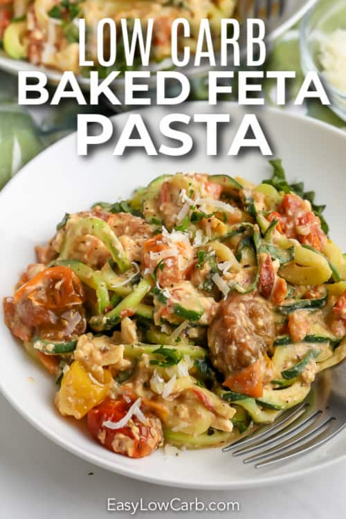 feta zucchini pasta in a white bowl with text