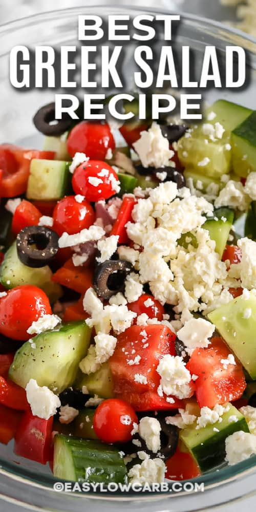 greek salad in a bowl with a title
