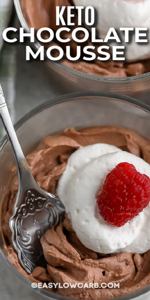 chocolate mousse in glass dish with spoon with text