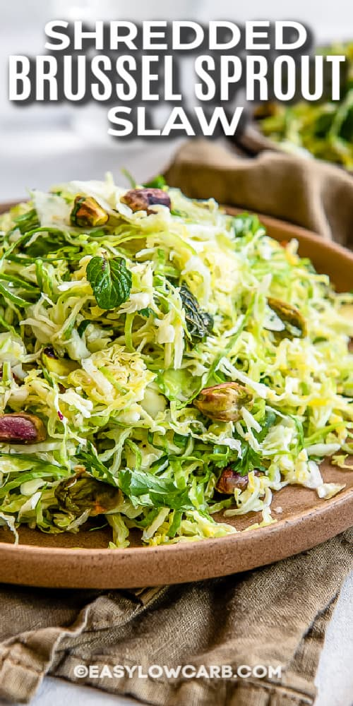 shredded brussel sprout slaw in a bowl with text