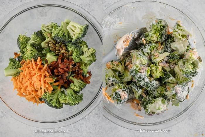process of mixing broccoli bacon cheese salad