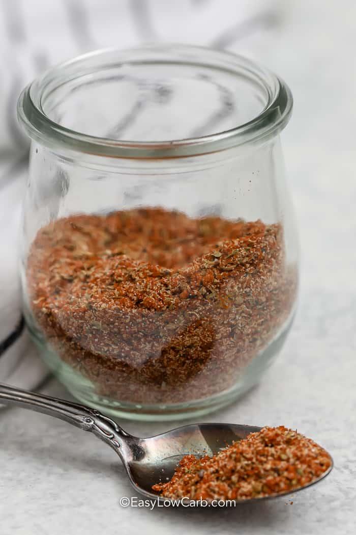 Keto Dry Rub Recipe Rib Seasoning in a jar