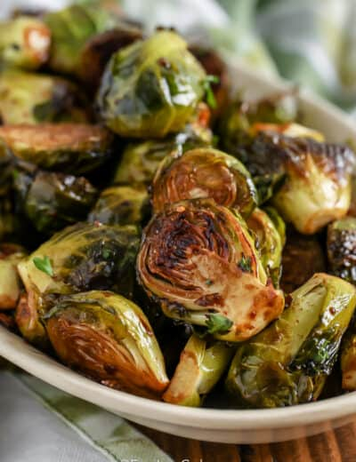 Roasted Brussels Sprouts on a serving plate