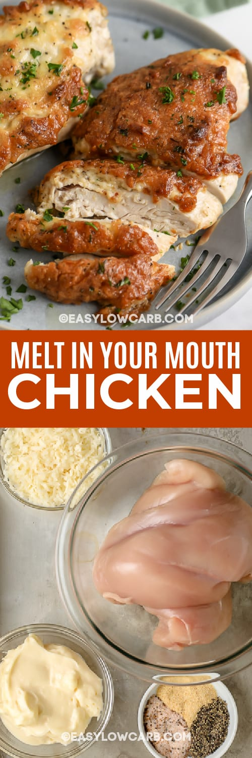 Melt in Your Mouth Chicken and ingredients with text