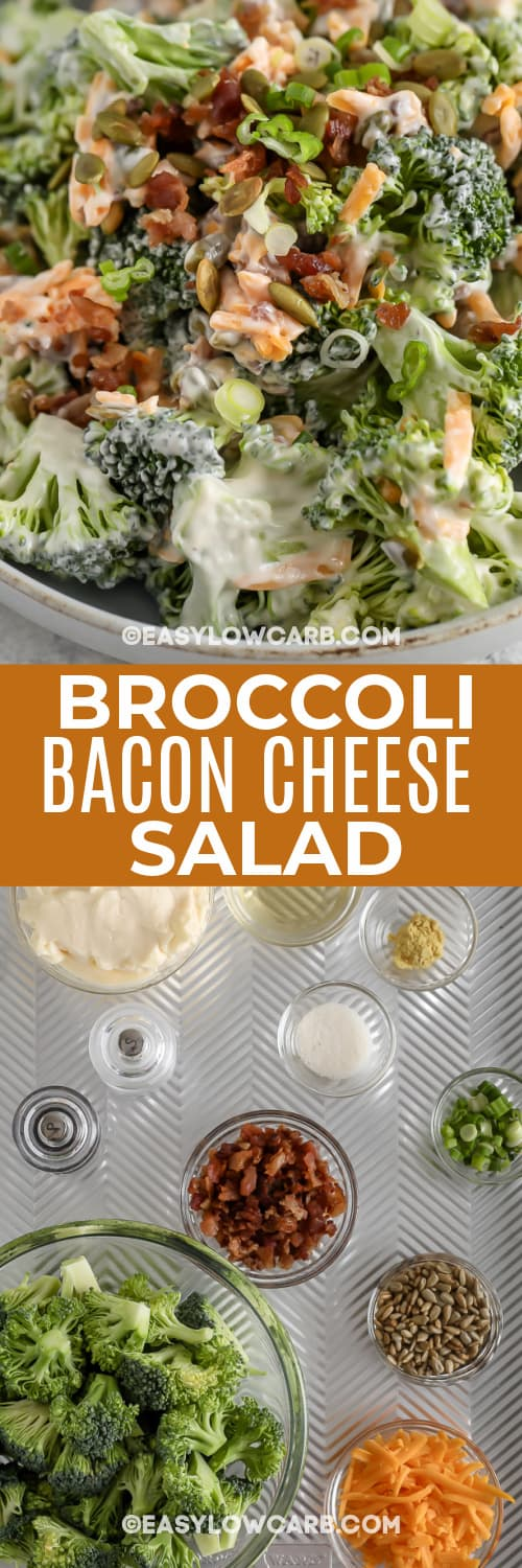 Ingredients assembled to make broccoli bacon cheese salad and finished salad with text