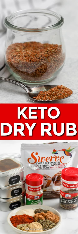 Keto Rib Seasoning ingredients and Keto Rib Seasoning in a jar with a title