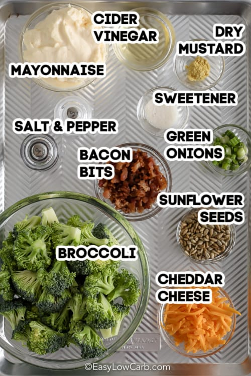 labelled ingredients assembled to make broccoli bacon cheese salad