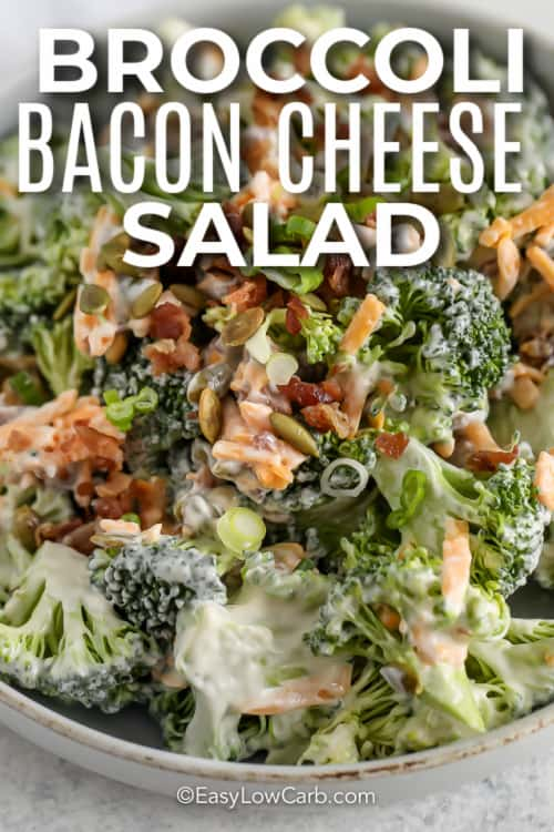 broccoli bacon cheese salad with text