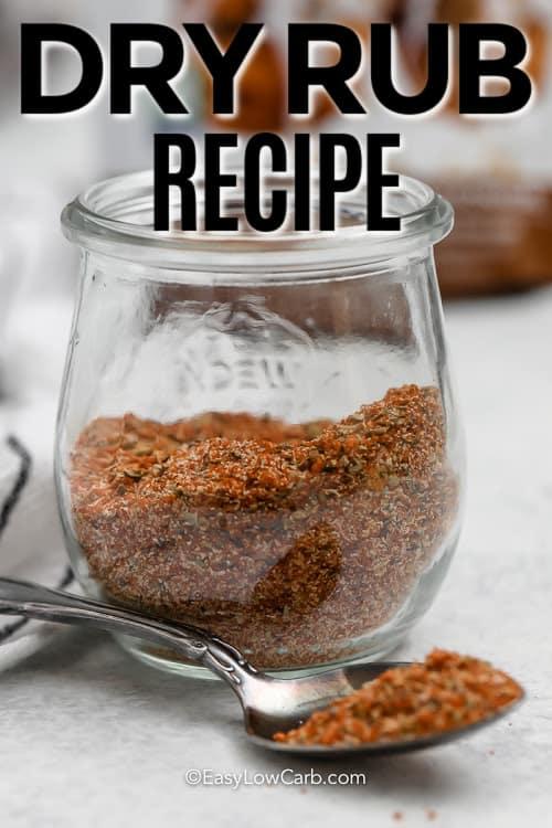 Keto Rib Seasoning in a clear jar with a text