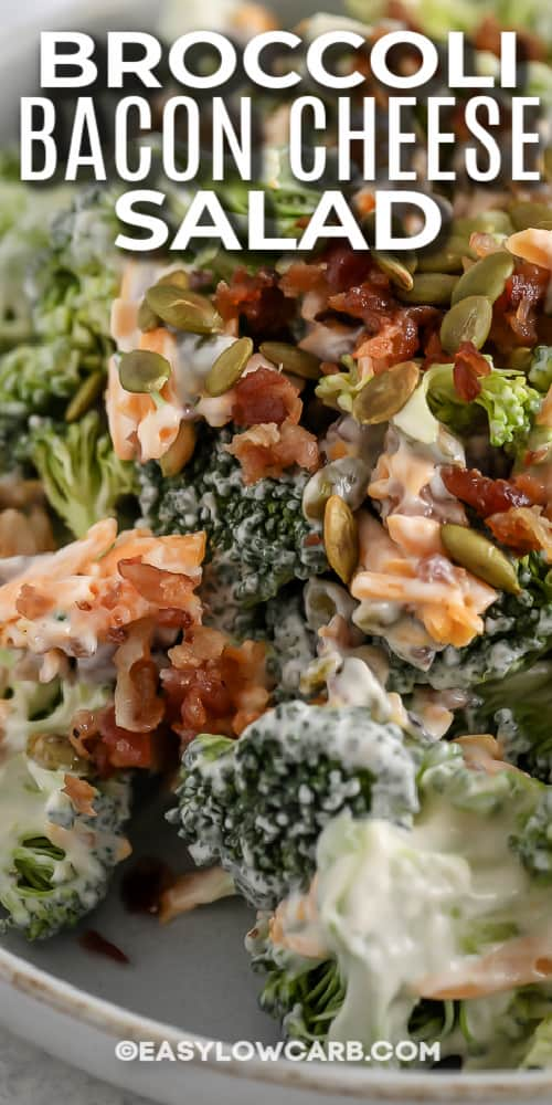 close up of broccoli bacon cheese salad with text