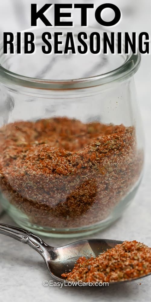 Keto Rib Seasoning in a glass jar with a title