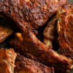 Oven Baked Ribs on a plate with a title