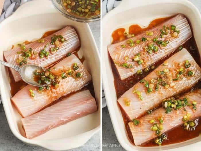 process of adding sauce to fish to make Baked Mahi Mahi