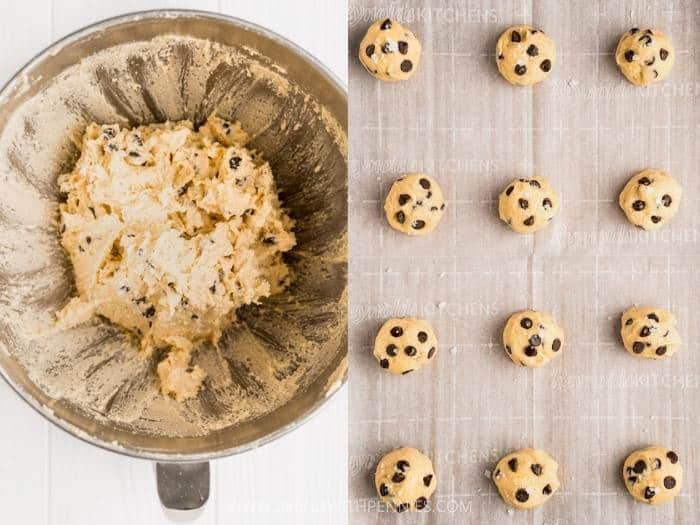 process of making Keto Chocolate Chip Cookies balls to cook
