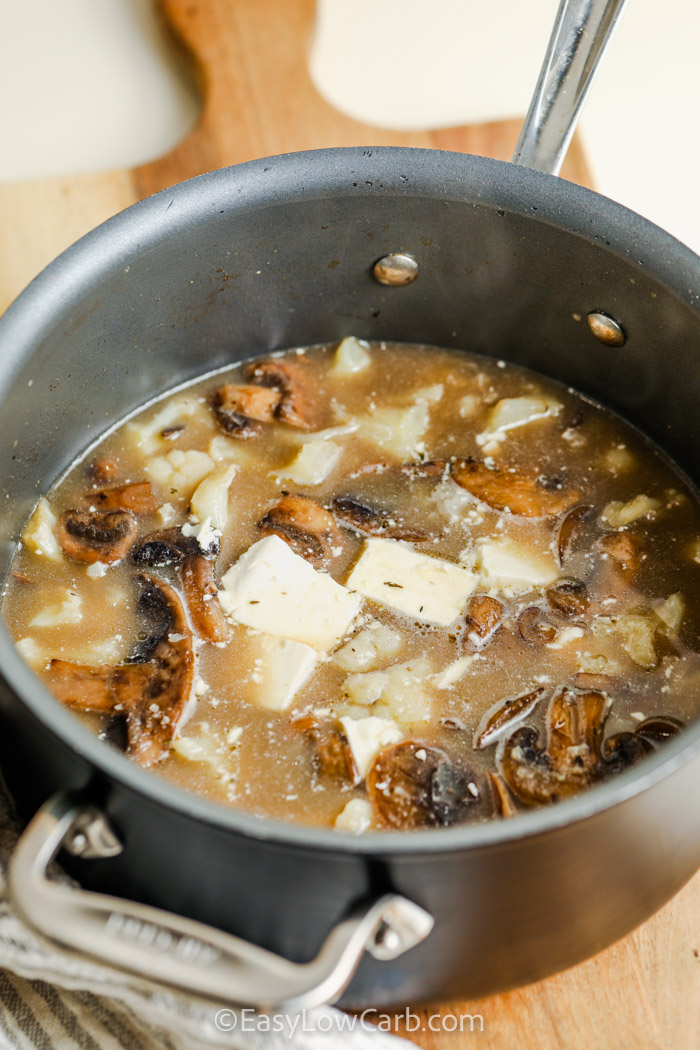 ingredients in the pot to make Cream of Mushroom Soup Recipe