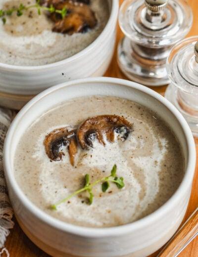 Cream of Mushroom Soup Recipe in bowls