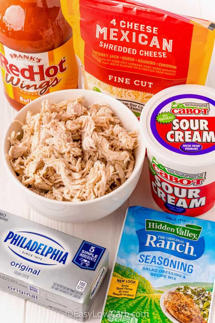 ingredients to make Keto Buffalo Chicken Dip