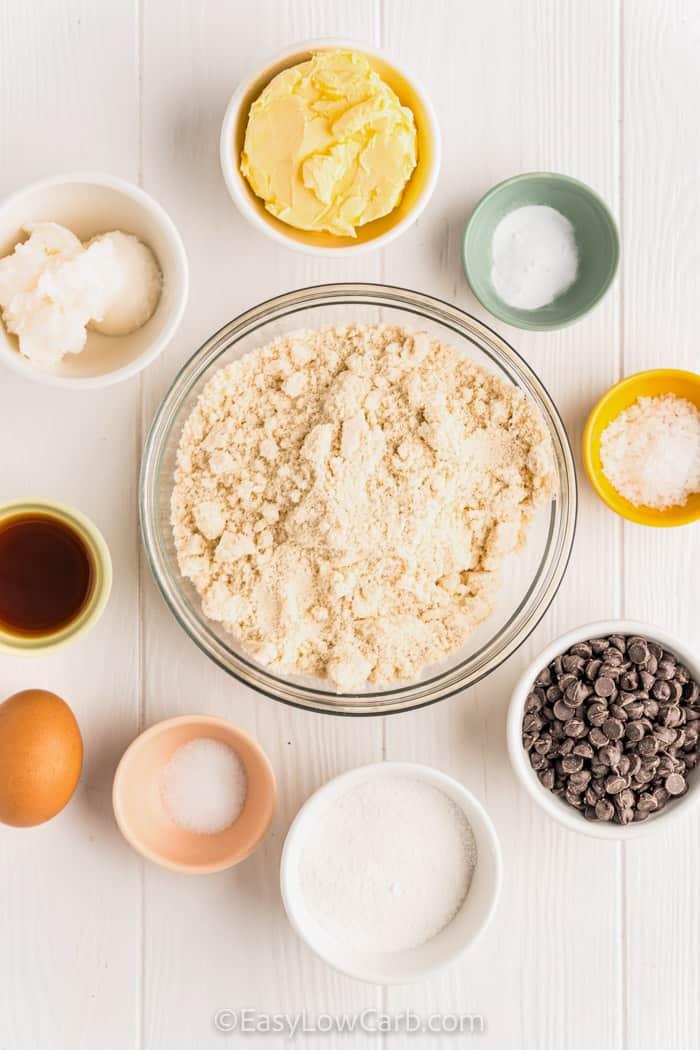ingredients to make Keto Chocolate Chip Cookies