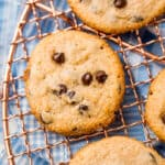 close up of cooked Keto Chocolate Chip Cookies on a cooling rack