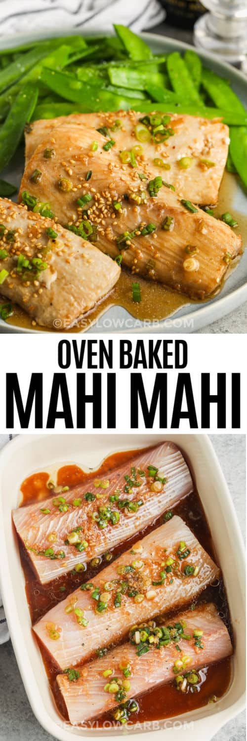 Baked Mahi Mahi in the dish and plated with a title