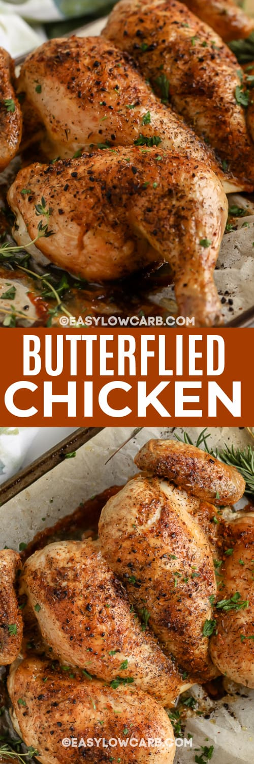 cooked Butterflied Chicken with text