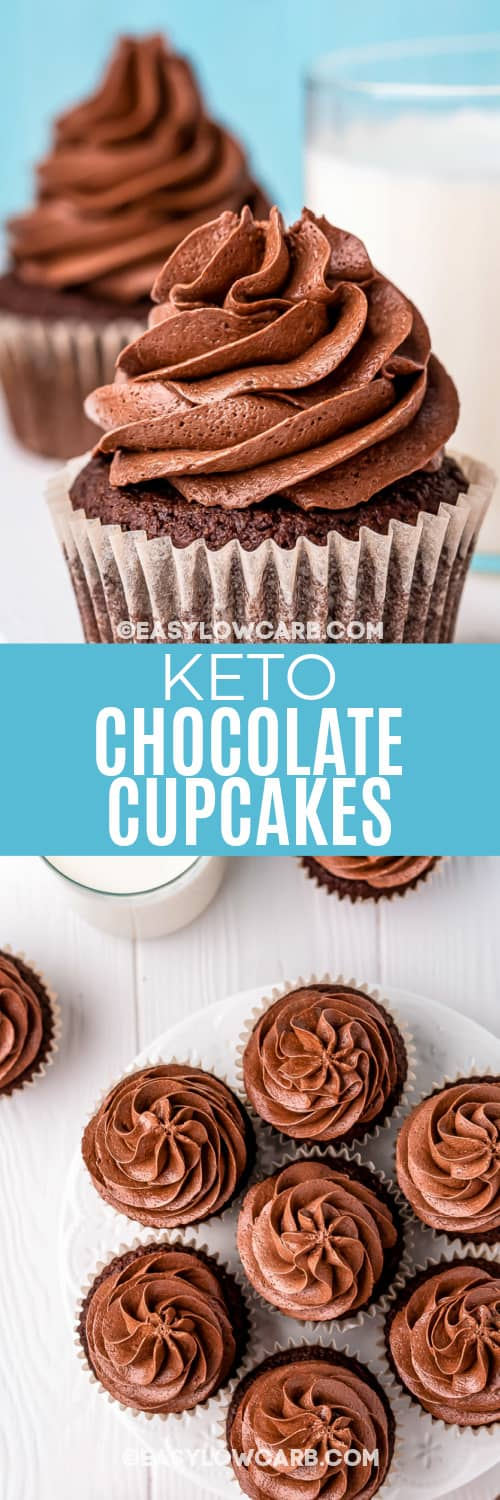 side view and top view of chocolate cupcakes with text