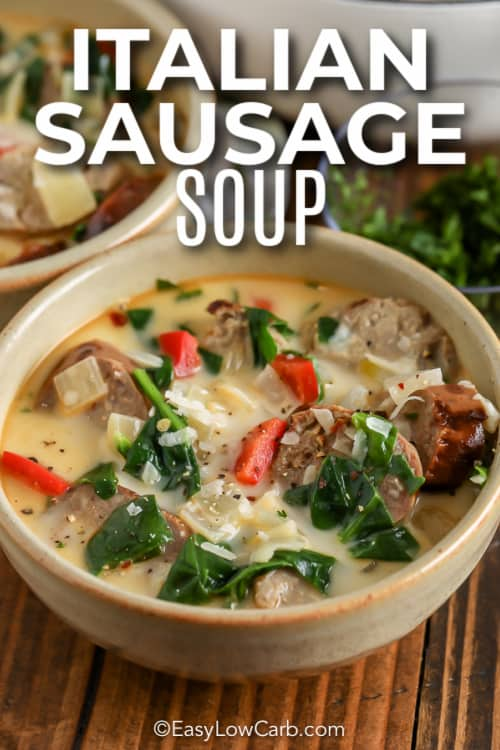 Italian Sausage Soup in a bowl with test