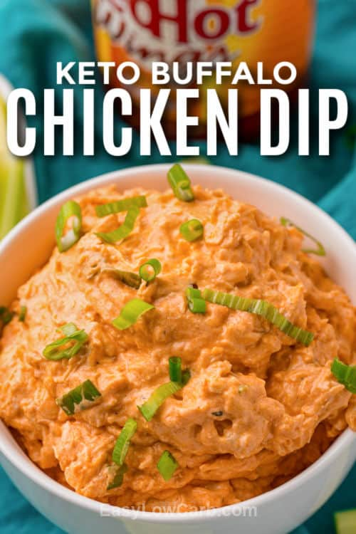 plated Keto Buffalo Chicken Dip with a title
