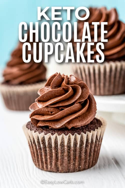 three chocolate cupcakes with text