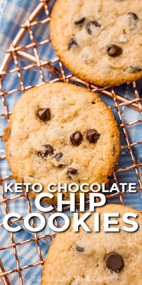 Keto Chocolate Chip Cookies on a cooling rack with a title