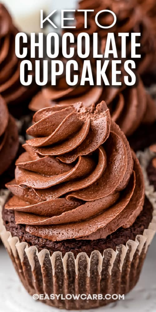 chocolate cupcakes with chocolate icing with text