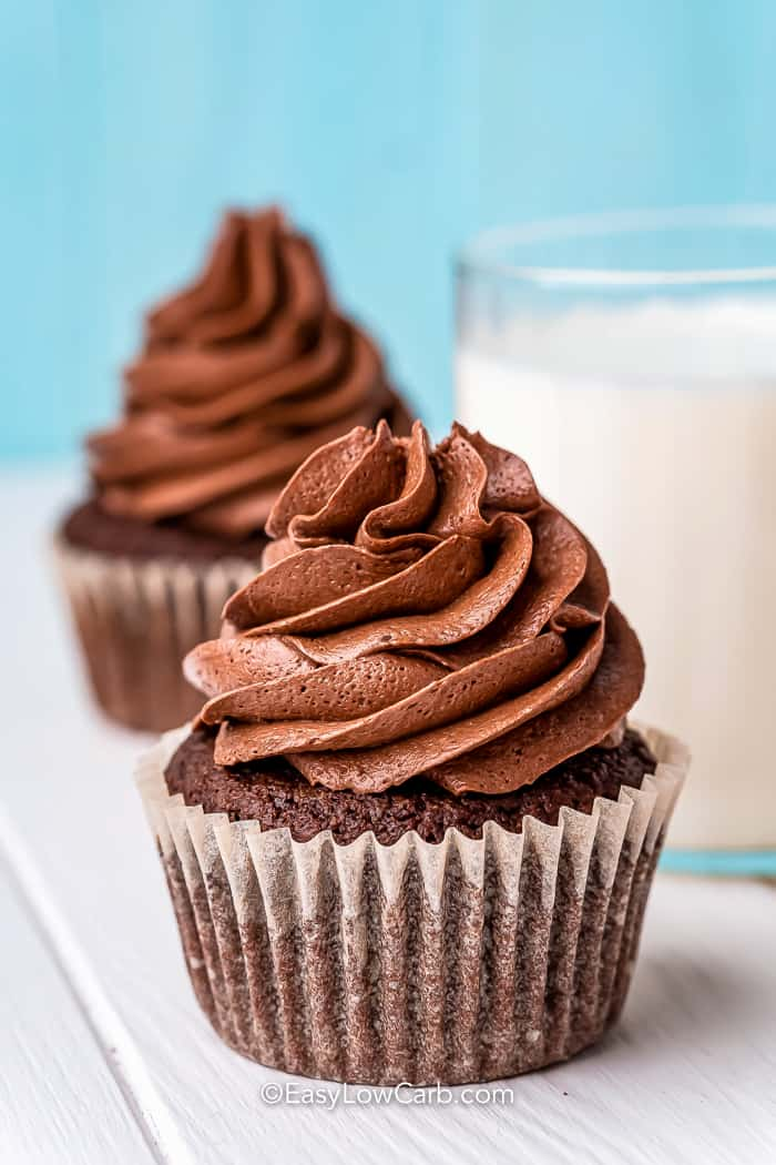two chocolate cupcakes and a glass of milk