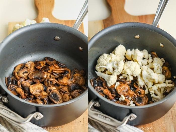 process of adding mushrooms and cauliflower to make Cream of Mushroom Soup Recipe