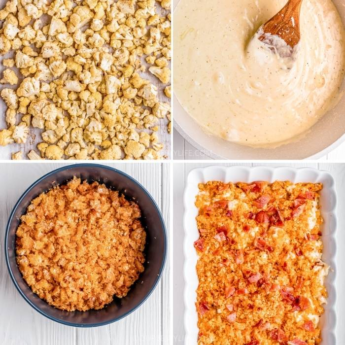 process of adding ingredients to the casserole dish to make Bacon Cauliflower Mac and Cheese