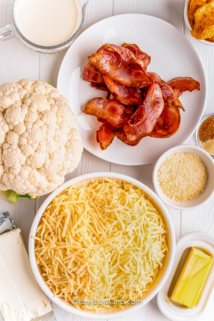 Ingredients assembled to make keto mac and cheese