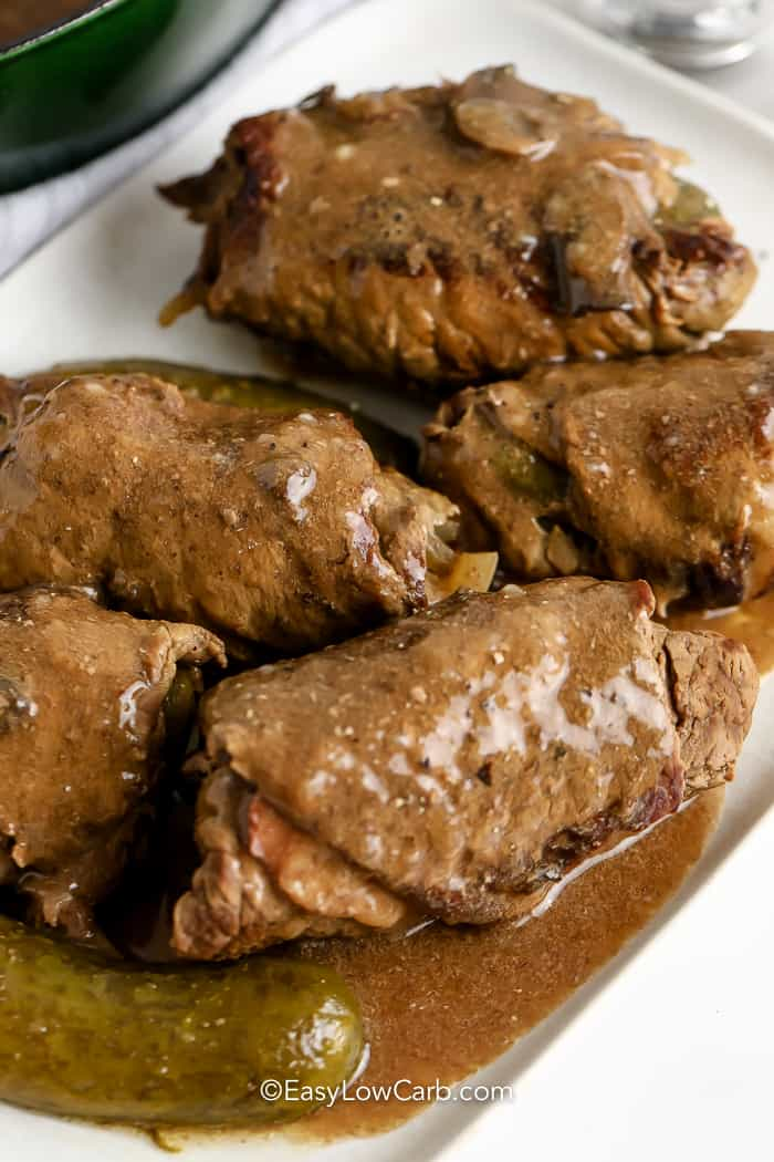 Beef Rouladen covered with gravy