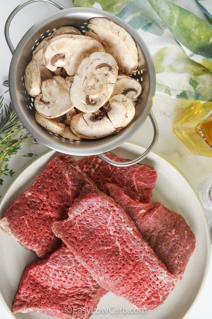 ingredients to make Braised Steak and Mushrooms