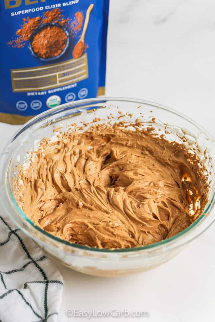 mixed Chocolate Peanut Butter Mousse in a glass bowl